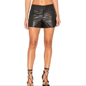 Alice + Olivia Cady Lamb Leather Short in Black